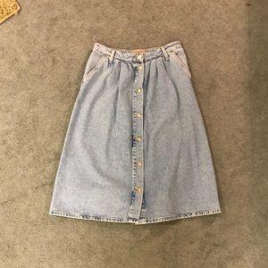 ZARA Denim Midi Skirt Light Blue Size S